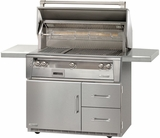 "ALXE42SZRLP Alfresco 42"" 3-Burner Grill with Infrared Rotisserie, SearZone & Refrigerated Cart Base - LP Gas - Stainless Steel"