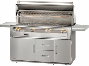 "ALXE56BFGR Alfresco 56"" Outdoor All Grill with Rotisserie, SearZone & Refrigerated Cart Base - Natural Gas - Stainless Steel"