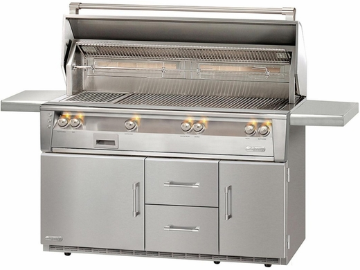 """ALXE56BFGRLP Alfresco 56"""" Outdoor All Grill with Rotisserie, SearZone & Refrigerated Cart Base - LP Gas - Stainless Steel"""