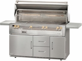 "ALXE56BFGRLP Alfresco 56"" Outdoor All Grill with Rotisserie, SearZone & Refrigerated Cart Base - LP Gas - Stainless Steel"