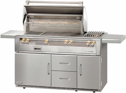 "ALXE56SZR Alfresco 56"" Outdoor Grill with Rotisserie, SearZone, Sideburner & Refrigerated Cart Base - Natural Gas - Stainless Steel"