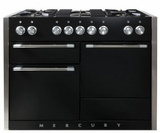 "AMC48DFBLK AGA 48"" Mercury Dual Fuel 3 Oven Range with 5 Sealed Burners and Storage Drawer - Gloss Black"