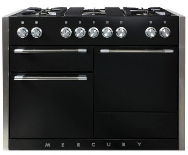 "AMC48DFMBL AGA 48"" Mercury Dual Fuel 3 Oven Range with 5 Sealed Burners and Storage Drawer - Matte Black"