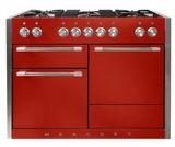 "AMC48DFSCR AGA 48"" Mercury Dual Fuel 3 Oven Range with 5 Sealed Burners and Storage Drawer - Scarlet"