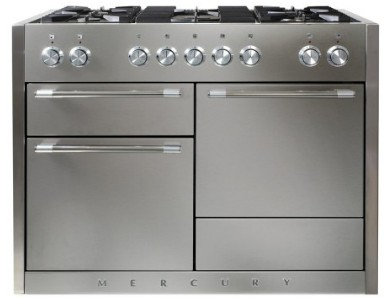 """AMC48DFSS AGA 48"""" Mercury Dual Fuel 3 Oven Range with 5 Sealed Burners and Storage Drawer - Stainless Steel"""