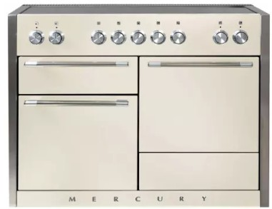 """AMC48INIVY AGA 48"""" Mercury Induction 3 Oven Range with 5 Burners and True European Convection - Ivory"""