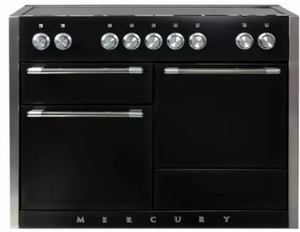 "AMC48INMBL AGA 48"" Mercury Induction 3 Oven Range with 5 Burners and True European Convection - Matte Black"
