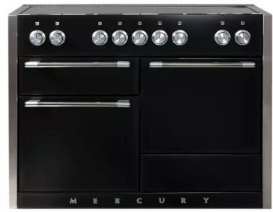 """AMC48INMBL AGA 48"""" Mercury Induction 3 Oven Range with 5 Burners and True European Convection - Matte Black"""