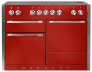 """AMC48INSCR AGA 48"""" Mercury Induction 3 Oven Range with 5 Burners and True European Convection - Scarlet"""