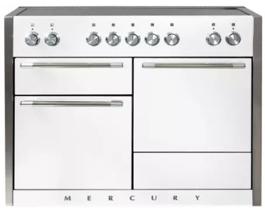 """AMC48INWHT AGA 48"""" Mercury Induction 3 Oven Range with 5 Burners and True European Convection - White"""