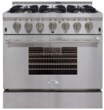 """APRO36AGSS AGA 36"""" Freestanding Gas Range with RapidBake Convection and True Dual Flame - Natural Gas - Stainless Steel"""
