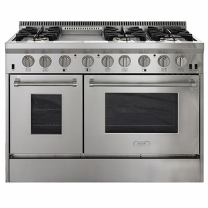 """APRO48AGSS AGA 48"""" Freestanding Gas Range with In-Oven Broiler and RapidBake Convection - Natural Gas - Stainless Steel"""