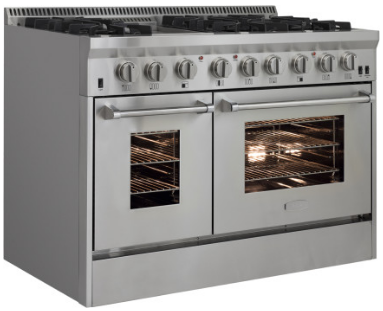 "APRO48DFSS AGA 48"" Freestanding Dual Fuel Range with Cool Flow Range Top and RapidBake Convection - Natural Gas - Stainless Steel"