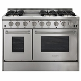 """APRO48DFSS AGA 48"""" Freestanding Dual Fuel Range with Cool Flow Range Top and RapidBake Convection - Natural Gas - Stainless Steel"""