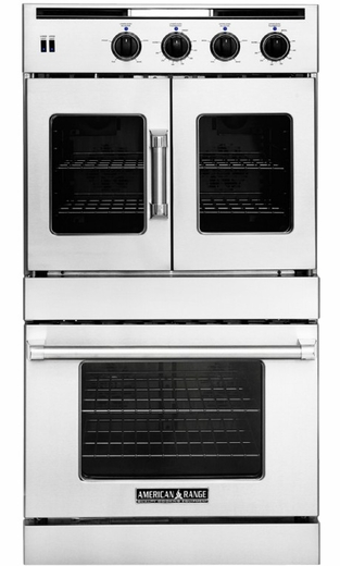 "AROFSE-230 American Range 30"" Legacy French Door Top / Chef Door Bottom Electric Double Wall Oven with Innovection Convection and Porcelainized Interior - Stainless Steel"