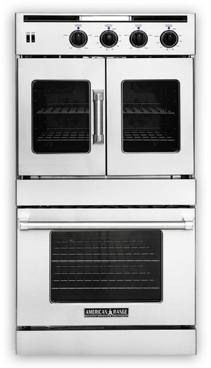 AROFSHGE-230N American Range Legacy Hybrid Double Wall Oven with Gas French Door Top & Electric Chef Door Bottom with Innovection Convection and Porcelainized Interior - Natural Gas - Stainless Steel