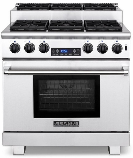 """ARR-366ISDFN American Range Titan 36"""" Dual Fuel Range with Step-Up Burners & Electric Oven - Natural Gas - Stainless Steel"""