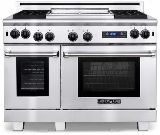 """ARR-486GRDFN American Range Medallion 48"""" Dual Fuel Range with Sealed Gas Burners, Grill,  Gas Oven & Electric Oven - Natural Gas - Stainless Steel"""