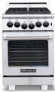 ARR-244N American Range 24 Inch Heritage Classic All Gas Range with 4 Sealed Gas Burners & Innovection Oven - Natural Gas - Stainless Steel