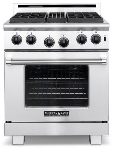"""ARR-304N American Range 30"""" Heritage Classic All Gas Range with 4 Sealed Gas Burners & Innovection Convection Oven - Natural Gas - Stainless Steel"""