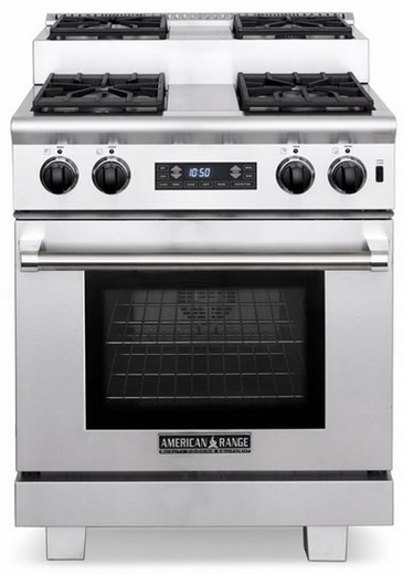 """ARR-304ISDFN American Range Titan 30"""" Dual Fuel Range with 4 Step-Up Burners & Electric Oven - Natural Gas - Stainless Steel"""