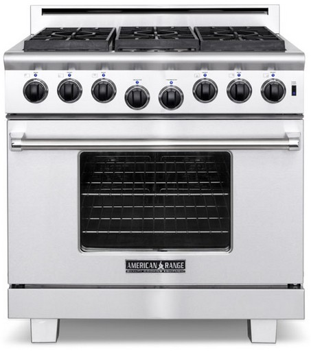 "ARR-364GRN American Range Heritage Classic 36"" All Gas Range with Sealed Gas Burners, Grill & Innovection Convection Oven - Natural Gas - Stainless Steel"