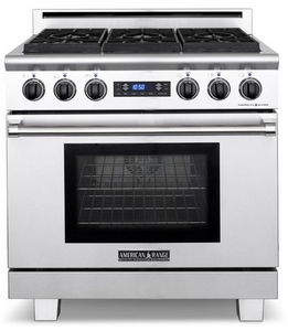 """ARR-364GRDFN American Range Medallion 36"""" Dual Fuel Range with Sealed Gas Burners, Grill & Electric Oven - Natural Gas - Stainless Steel"""