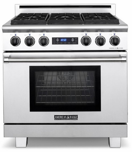 "ARR-366DFN American Range Medallion 36"" Dual Fuel Range with Sealed Gas Burners & Electric Oven - Natural Gas - Stainless Steel"