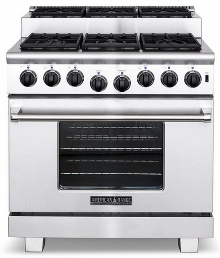 "ARR-366ISN American Range Titan 36"" All Gas Range with Sealed Step-Up Burners & Oven - Natural Gas - Stainless Steel"