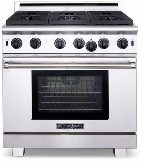 """ARR-436GRN American Range Cuisine 36"""" All Gas Range with 4 Sealed Gas Burners, Grill & Innovection Oven - Natural Gas - Stainless Steel"""