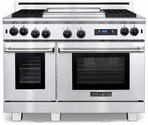 """ARR-4842GDDFN American Range Medallion 48"""" Dual Fuel Range with 4 Sealed Gas Burners, Griddle, Grill, Gas Oven & Electric Oven - Natural Gas - Stainless Steel"""