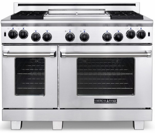 "ARR-486GDN American Range Heritage Classic 48"" All Gas Range with Sealed Gas Burners, Griddle & Innovection Convection Oven - Natural Gas - Stainless Steel"