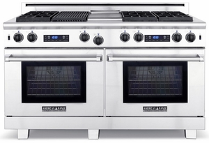 "ARR-6062GDDFN American Range Medallion 60"" Dual Fuel Range with Sealed Gas Burners, Griddle & Electric Ovens - Natural Gas - Stainless Steel"