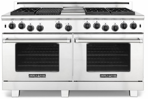 "ARR-606GDGRN American Range 60"" Heritage Classic All Gas Range with Sealed Gas Burners, Griddle, Grill & Innovection Convection Oven - Natural Gas - Stainless Steel"