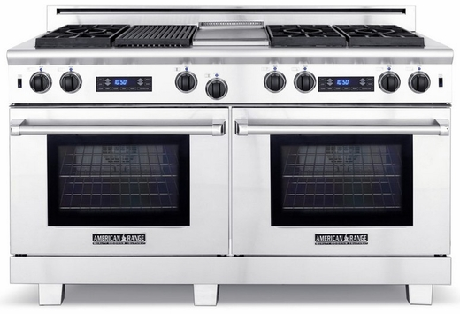 """ARR-606GDGRDFN American Range Medallion 60"""" Dual Fuel Range with Sealed Gas Burners, Griddle, Grill & Electric Ovens - Natural Gas - Stainless Steel"""
