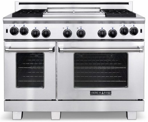 "ARROB-448GDGRN American Range Performer 48"" All Gas Range with 4 Open Burners, Grill, Griddle & Innovection Convection Oven - Natural Gas - Stainless Steel"