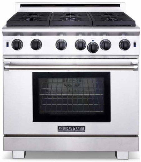 """ARROB-436GDN American Range Performer 36"""" All Gas Range with 4 Open Burners, Griddle & Innovection Convection Oven - Natural Gas - Stainless Steel"""