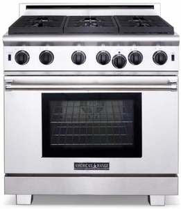 """ARROB-636N American Range Performer 36"""" All Gas Range with 6 Open Bruners & Innovection Convection Oven - Natural Gas - Stainless Steel"""