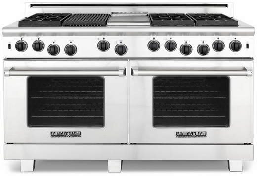 "ARROB-6602GDN American Range Performer 60"" All Gas Range with Open Burners, Griddle & Innovection Convection Oven - Natural Gas - Stainless Steel"