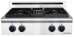 """ARSCT-304N American Range Legend 30"""" Cooktop with 4 Sealed Burners and Analog Controls  - Natural Gas - Stainless Steel"""