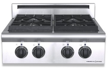"ARSCT-244N American Range Legend 24"" Cooktop with 4 Sealed Burners and Analog Controls  - Natural Gas - Stainless Steel"