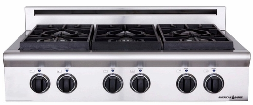 "ARSCT-366N American Range Legend 36"" Cooktop with 6 Sealed Burners and Analog Controls - Natural Gas - Stainless Steel"
