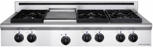 """ARSCT-484GDGRN American Range Legend 48"""" Cooktop with 4 Sealed Burners, Grill & Griddle - Natural Gas - Stainless Steel"""