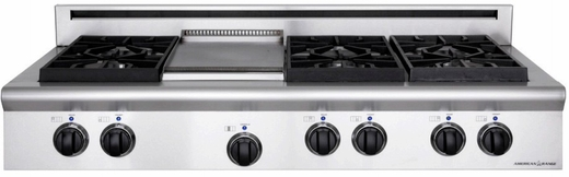 "ARSCT-486GRN American Range Legend 48"" Cooktop with 6 Sealed Burners & Grill - Natural Gas - Stainless Steel"