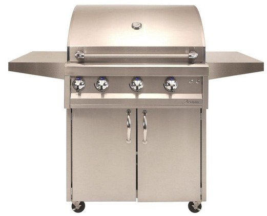 "ARTP32CLP Artisan 32"" Professional Series Liquid Propane Grill and Cart with 3 Stainless Steel U-Burners and Push Button Ignition - Stainless Steel"