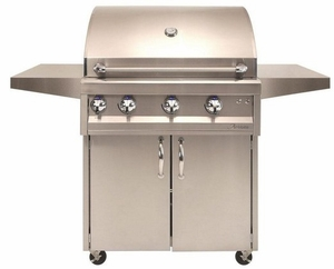 "ARTP36CLP Artisan 36"" Professional Series Liquid Propane Grill and Cart with 3 Stainless Steel U-Burners and Push Button Ignition - Stainless Steel"