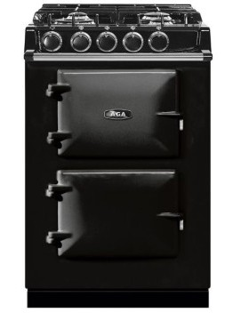 """ATC2DFBLK Aga 24"""" Freestanding Dual Fuel Range with 4 Sealed Burners and 4.9 cu . ft Oven Capacity - Black"""