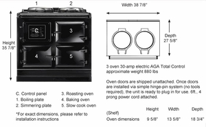 ATC3AUB AGA Total Control 3 Electric Range Cooker with Cast Iron Radiant Heat Oven - Aubergine