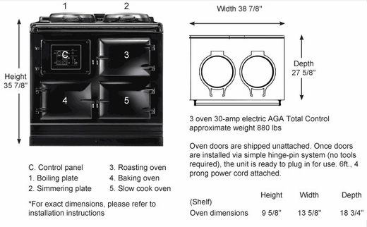 ATC3DEB AGA Total Control 3 Electric Range Cooker with Cast Iron Radiant Heat Oven - Duck Egg Blue