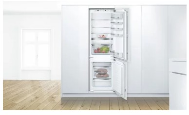 "B09IB81NSP Bosch 24"" 800 Series Built-In Bottom Freezer Refrigerator with WiFi Home Connect and BigBox Freezer Drawer - Custom Panel"